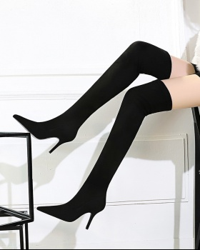 Winter European style high-heeled simple pointed thigh boots
