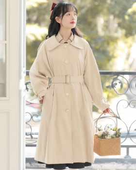 Retro France style windbreaker exceed knee coat