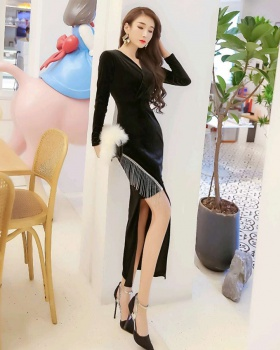 Package hip autumn and winter velvet tassels long dress