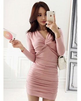 V-neck high elastic slim package hip Korean style dress