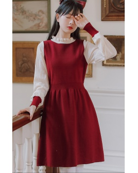Knitted high waist autumn and winter sweater dress