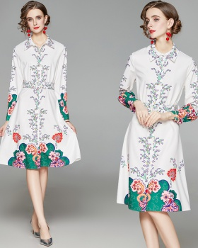 Fresh fashion spring dress lapel printing belt