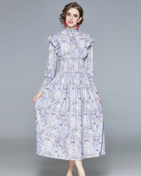 Printing autumn and winter temperament sweet long dress