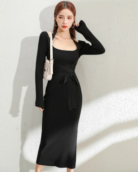 Bandage knitted long dress show high dress for women