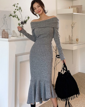 Long autumn and winter slim mermaid dress