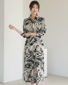 Pinched waist Korean style shirt split long dress