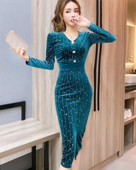Tight package hip bottoming autumn and winter dress