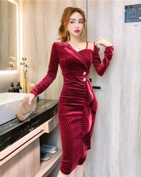 Tight autumn single-breasted irregular fashion dress