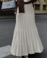 Slim long long skirt pleated knitted skirt for women