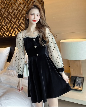 Splice winter gauze long sleeve dress