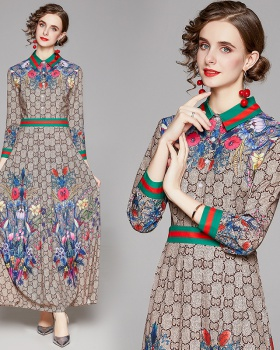 All-match slim fashion printing pinched waist dress