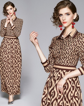 European style all-match pinched waist printing dress