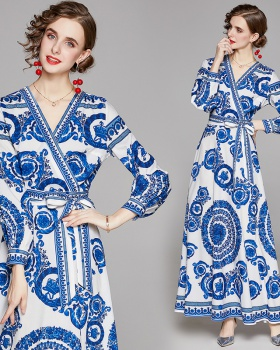 Fashion slim printing all-match pinched waist dress