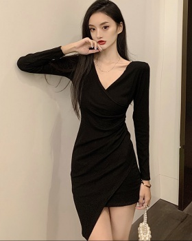 Autumn V-neck slim irregular cross dress