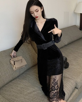 Lace sexy slim dress autumn splice business suit