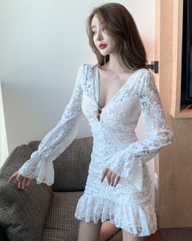 Sexy low-cut package hip lace folds dress