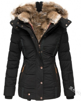 Slim fur collar overcoat hooded winter cotton coat for women