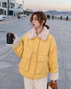 Winter lambs wool down coat Korean style coat for women