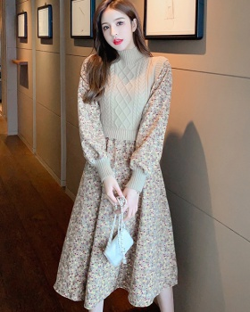 Bottoming splice sweater floral long dress