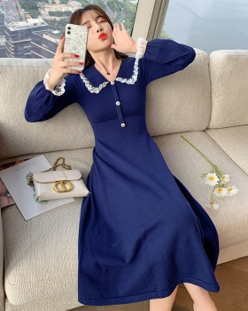 Doll collar knitted long dress pinched waist lady dress