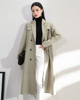 Korean style raglan sleeve coat pinched waist windbreaker