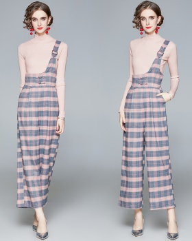 Fashion high waist long pants plaid bib pants