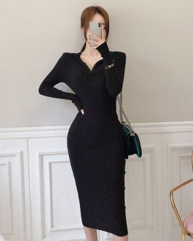 Knitted slim sweater Korean style dress for women