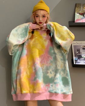 Autumn and winter winter hoodie loose tie dye tops for women