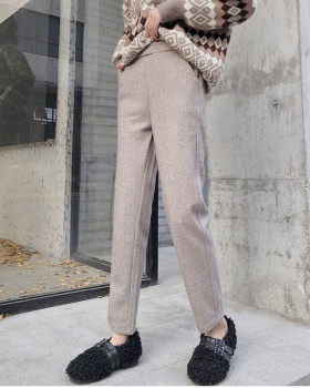 Woolen thick casual pants high waist suit pants for women
