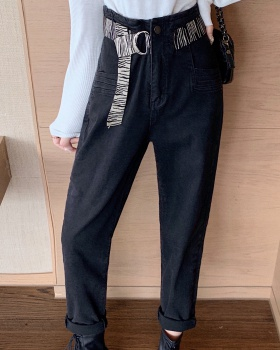 Korean style with belt pants elasticity denim long pants