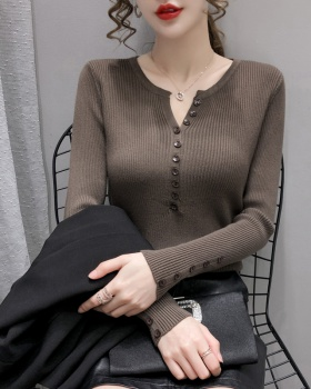 Western style sweater knitted doll shirt for women