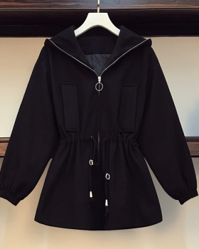 Hooded plus cotton thick woolen fat Korean style slim coat