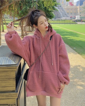 Lambs wool lazy hoodie Korean style loose tops