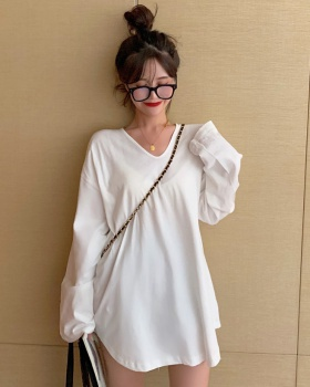 Pure simple T-shirt long sleeve loose bottoming shirt for women