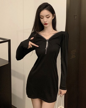 Slim V-neck autumn wear zip rhinestone dress