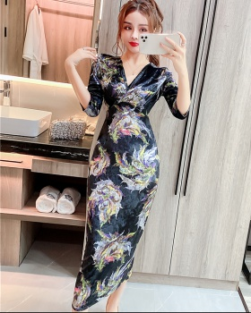 Sexy autumn and winter dress slim long dress for women
