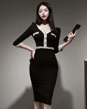 Package hip V-neck slim ladies Korean style dress