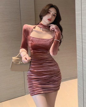 Package hip square collar velvet Korean style dress