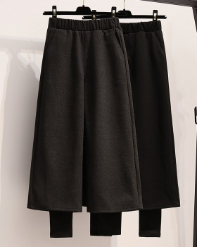 Plus velvet winter woolen Pseudo-two thick wide leg pants