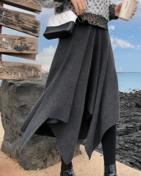 Long thick skirt hem irregular autumn and winter skirt