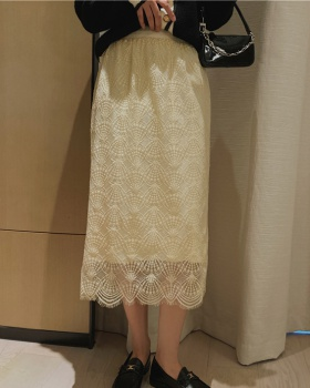 Long high waist knitted lace skirt