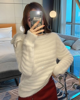 Strapless knitted pullover bow mohair pure tops