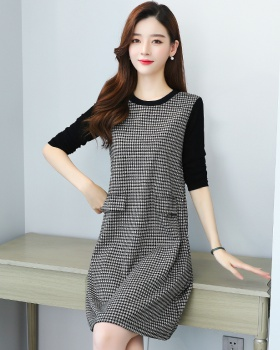 Plaid Korean style splice long sleeve dress for women