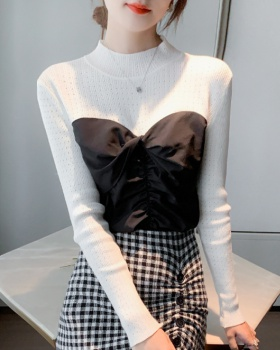 Korean style long sleeve sweater splice pullover tops