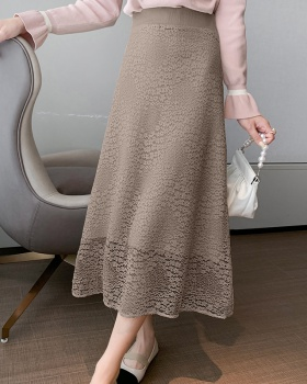 Slim lace elastic waist autumn and winter skirt for women