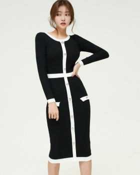 Splice long sleeve T-back mixed colors dress for women