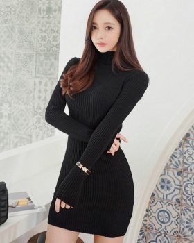 Slim hip dress knitted high collar T-back for women