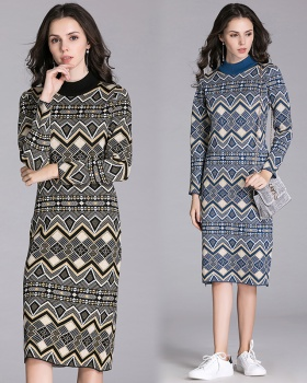 European style temperament slim sweater long knitted dress