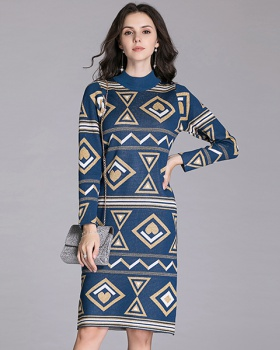 Temperament knitted dress long slim sweater