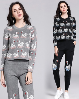 All-match slim European style sweater 2pcs set for women